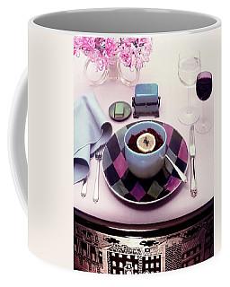 A Bowl Of Food On A Pink Table Coffee Mug