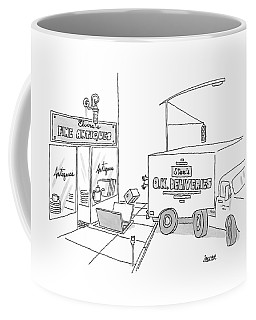 A Box From A Truck Labeled Stan's O.k. Deliveries Coffee Mug