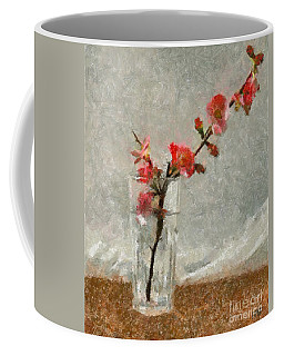 Coffee Mug featuring the painting A Branch Of Japonica by Dragica  Micki Fortuna