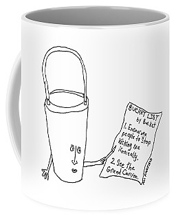 A Bucket With A Face And Arms Holds A List That Coffee Mug