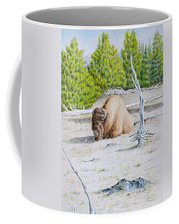 A Buffalo Sits In Yellowstone Coffee Mug