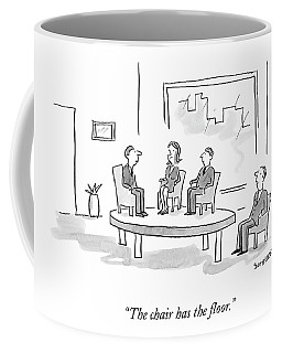 A Businessman In A Chair Looks At Three People Coffee Mug