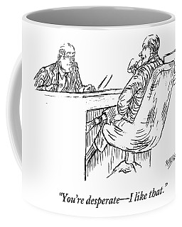 A Businessman Interviewing Another Coffee Mug