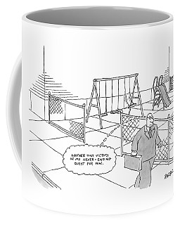 A Businessman Walks Away From A Playground Coffee Mug