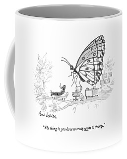 A Butterfly Speaks To A Caterpillar Coffee Mug