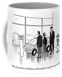 A Car Salesman Talks To A Couple In A Showroom Coffee Mug