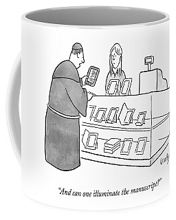 A Monk Asking About An E-reader Coffee Mug