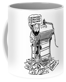 A Cartoonist Sits At His Desk Drawing. A Thought Coffee Mug