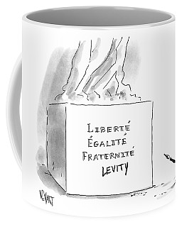 A Cartoonist Stands Draws Levity On A French Coffee Mug
