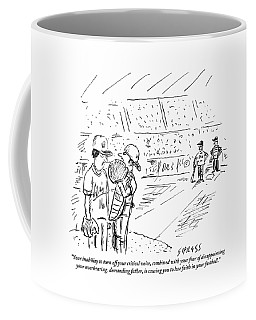 A Catcher Speaks To A Baseball Player Coffee Mug