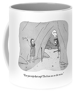 A Caveman Speaks To Another Caveman Who Coffee Mug