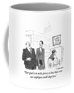 A Ceo Is Seen In A Store Addressing Another Coffee Mug