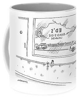 A Chicken Sits At A Bar Called Ed's Roadside Coffee Mug