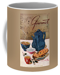 A Chinese Tea Pot With Tea And Cookies Coffee Mug
