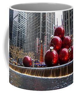 A Christmas Card From New York City - Radio City Music Hall And The Giant Red Balls Coffee Mug
