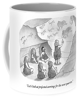 A Circle Of Cavemen Sit Around One Caveman Who Coffee Mug