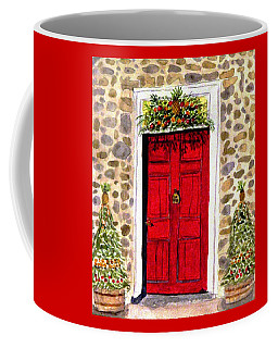 Coffee Mug featuring the painting A Colonial Christmas At The Dobbin House Gettysburg by Angela Davies