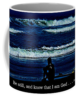 a contemplative surfer  - Psalm 46 - 10 Coffee Mug