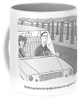 A Couple Drives Along A Forest Road Coffee Mug