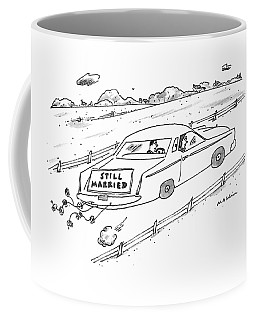 A Couple Driving A Car With A Still Married Sign Coffee Mug