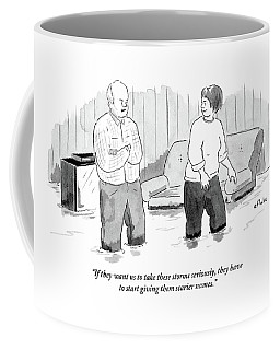 A Couple Stand And Talk In Their Flooded Living Coffee Mug