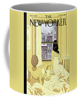 A Couple Stays In Bed While It Snows In The City Coffee Mug