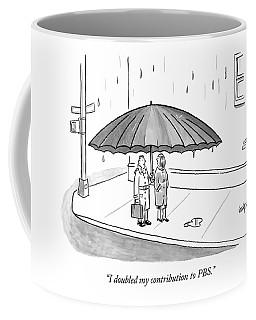 A Couple Under A Gigantic Umbrella On A City Coffee Mug