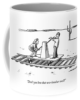 A Couple With A Handcar In A Desert Coffee Mug