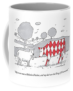 A Cow With A Red Diamond Spots Talks To Another Coffee Mug