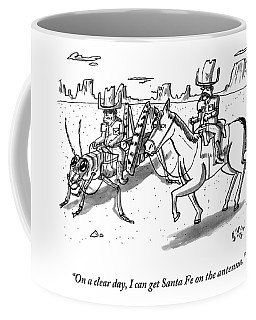 A Cowboy Rides A Horse Next To Another Cowboy Who Coffee Mug