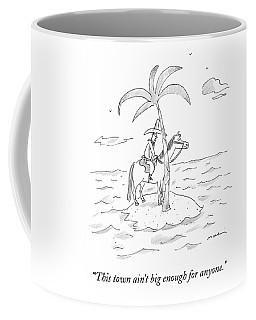 A Cowboy Sits On A Horse On A Desert Island Coffee Mug