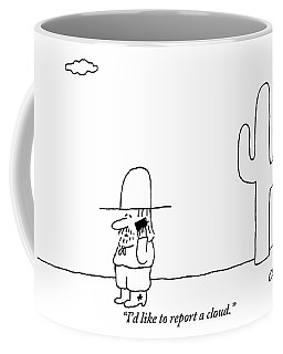 A Cowboy Talks On A Cell Phone In A Desert Coffee Mug
