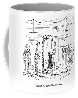 A Customer In A Dress Shop Speaks To A Saleswoman Coffee Mug
