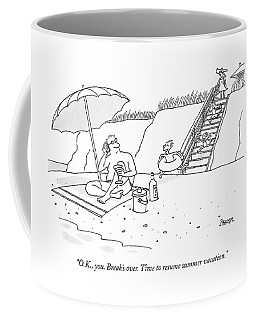 A Dad Seated Beneath An Umbrella At The Beach Coffee Mug