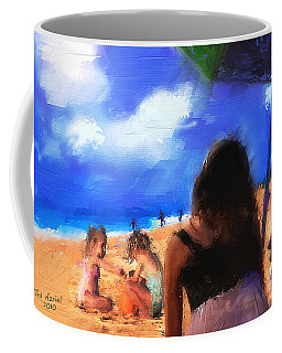 Coffee Mug featuring the painting A Day At The Beach by Ted Azriel
