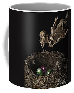 A Dead Bird Flies Into Its Nest Only To Find Chocolate Eggs Coffee Mug