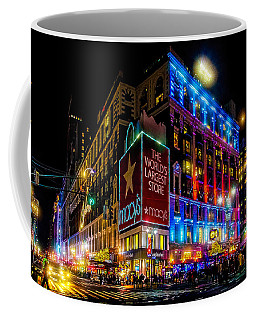 Coffee Mug featuring the photograph A December Evening At Macy's  by Chris Lord