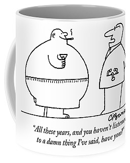 A Doctor Addresses A Fat Man Who Is Smoking Coffee Mug