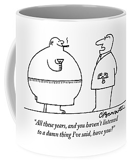 A Doctor Addresses A Fat Man Who Is Smoking Coffee Mug