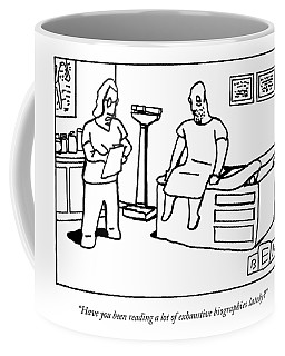 A Doctor Examines His Middle-aged Patient Coffee Mug
