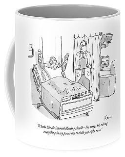 A Doctor In A Hospital Addresses His Patient Coffee Mug
