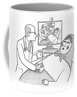 A Doctor Is Seen Giving An Sonogram To A Russian Coffee Mug