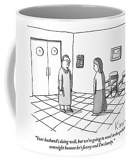 A Doctor Is Seen Talking To A Woman Coffee Mug