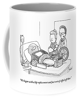 A Doctor Talks To A Concerned Wife. The Patient's Coffee Mug