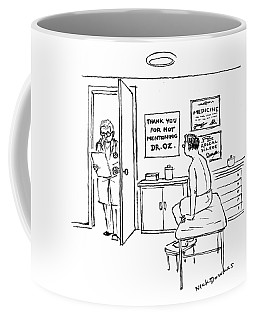 A Doctor Walks Into An Office Where A Patient Coffee Mug