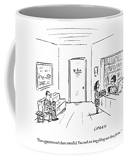 A Doctor's Office Receptionist Says To A Woman Coffee Mug