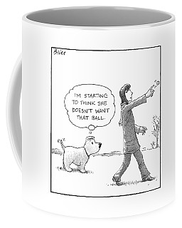 A Dog Thinks To Himself As A Woman Throws A Ball Coffee Mug