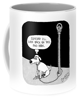 A Dog Tied To A Parking Meter Thinks Coffee Mug