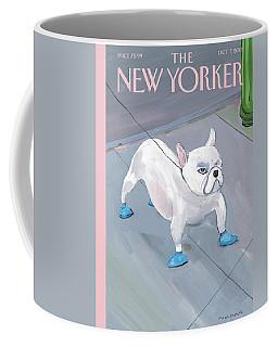 A Dog Wears Shoes On The City Sidewalk Coffee Mug