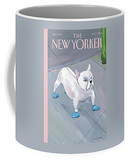 A Dog Wears Shoes On The City Sidewalk Coffee Mug